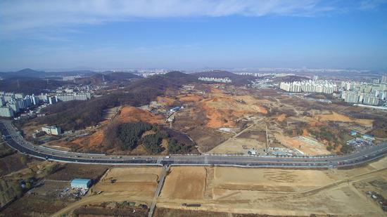 ▲ 하늘에서 내려다 본 인천 검단신도시 택지.  <사진=인천도시공사 제공>