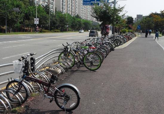 ▲ 구리시가 자전거타기 문화 확산을 위한 인프라 구축에 앞장서고 있다. 사진은 구리시에 조성된 자전거 보관소 전경. <구리시 제공>