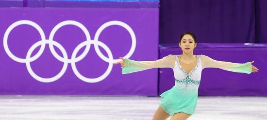 ▲ 21일 강릉 아이스아레나에서 열린 평창올림픽 피겨스케이팅 여자 싱글 쇼트프로그램에서 대한민국 최다빈 선수가 기술을 선보이고 있다.