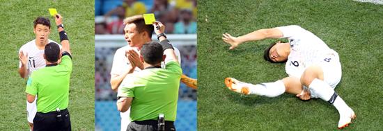 ▲ 한국 축구대표팀 황희찬(왼쪽)과 김신욱(가운데)이 러시아 월드컵 F조 스웨덴전에서 반칙으로 옐로카드를 받고 있고, 부상으로 쓰러진 박주호(오른쪽)가 고통스러워하고 있다. /연합뉴스