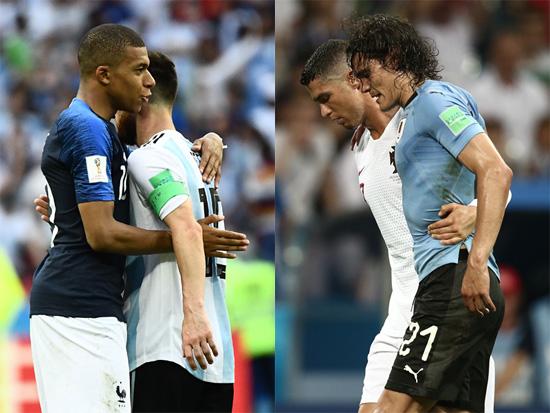 ▲ 러시아 월드컵 16강전이 열린 1일(한국시간) 멀티골을 넣은 프랑스의 &lsquo;신성&rsquo; 음바페가 탈락이 확정된 아르헨티나의 메시를 위로하고 있다. 오른쪽은 두 골을 넣고 우루과이의 8강 진출을 이끈 뒤 부상 당한 카바니를 호날두(포르투갈)가 부축하는 모습. /연합뉴스 <br /><br />