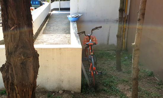▲ 수원시내 한 아파트단지 내에 공유자전거 한 대가 주변에 가려 잘 보이지 않는 구석에 세워져 있다.  박종현 인턴기자