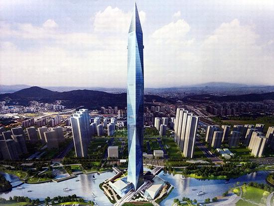 ▲ 세계에서 6번째로 높은 높이 448m의 청라시티타워 및 복합시설 조감도. 사진=인천경제자유구역청 제공