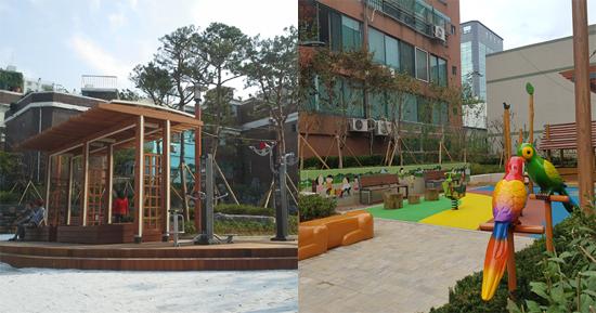 ▲ 미추홀구 주안7동 녹색마을 쉼터(왼쪽)와 숭의2동 장안마을 쉼터.  <인천시 미추홀구 제공>