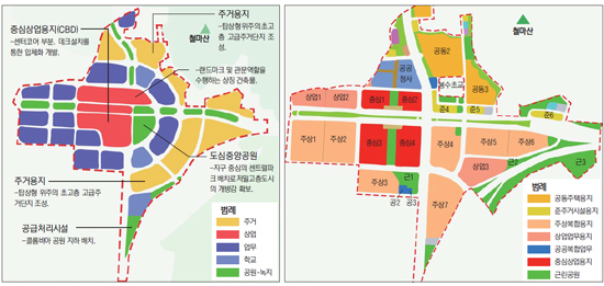 2010년 1월 발표된 루원시티 토지이용구상계획(좌측)과 2016년 9월 실시계획 승인 후 공개된 토지이용계획도.  인천시 제공.jpg