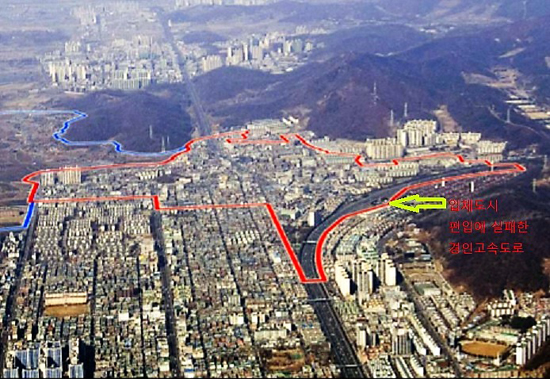 ▲ 2010년 루원시티 입체적 교통망의 핵심인 경인고속도로 지하화를 인천시가 포기함으로써 입체복합도시 개발계획은 사실상 증발됐다. 사진은 당시 촬영된 서구 가정오거리 일대.  <인천시 제공>