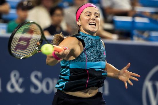 ▲ 지난해 코리아오픈 테니스 우승자 엘레나 오스타펜코는 공격적인 플레이가 강점이다. 올해 윔블던 4강까지 오른 전력으로 15일부터 시작되는 코리아오픈에서 2회 연속 우승할지 주목된다. /연합뉴스<br /><br />