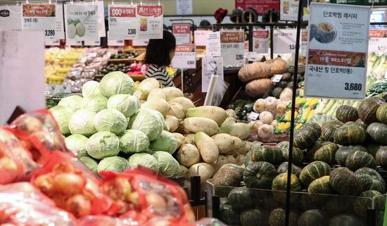 ▲ 물가가 오르는 추석이 지났는데도 채소와 과일의 상승세가 이어질 전망이다. 한국농촌경제연구원 농업관측본부에 따르면 10월에도 토마토와 오이, 풋고추 등 주요 과채류와 사과와 배, 포도, 감 등 과일 가격이 지난해보다 오를 것으로 조사됐다. 사진은 10일 오전 서울의 한 마트의 채소 코너에서 장을 보는 시민의 모습. <br /><br />&#10; /연합뉴스