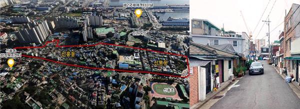 ▲ 인천시 중구 신흥동 &lsquo;공감마을&rsquo; 위치도(왼쪽)와 실제 현장모습,<br /><br />