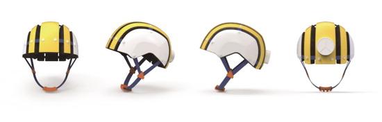 ▲ 티피엘테크놀로지가 개발한 '플렉시블 IoT 스포츠 헬멧'은 머리 크기에 맞게 조절이 가능하다.<br /><br />