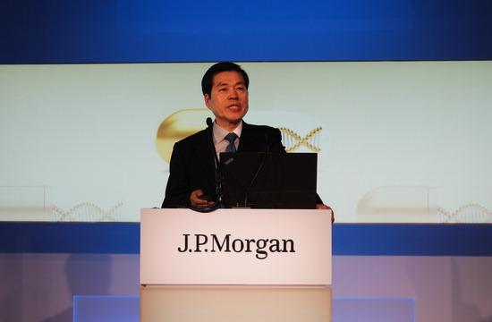 ▲ 김태한 삼성바이오로직스 사장이 JP모건 컨퍼런스에서 올해 사업계획과 전략을 설명하고 있다. <삼성바이오로직스 제공>