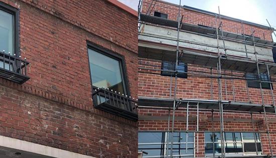 ▲ 경관개선 사업에 참여한 한 건물 화분거치대에 창문이 걸려 화분을 올려놓을 수 없는 설계 하자가 발생한 모습(왼쪽)과 건물 외벽 타일이 파벽돌로 교체되고 있는 모습.  <스페이스빔 제공>