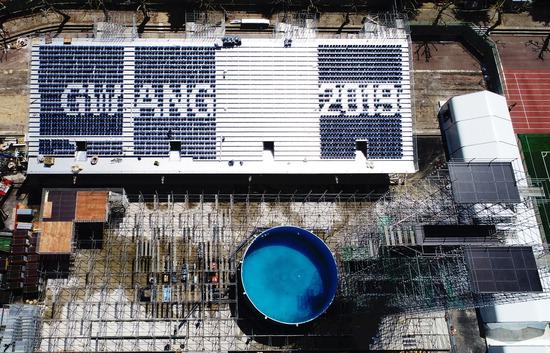 ▲ 광주세계수영선수권대회 '개회 D-50'을 하루 앞둔 22일 오전 광주 동구 조선대학교에 건설 중인 하이다이빙 경기장 수조에는 물이 채워지고, 관람석에는 'GWANG JU 2019'라는 문구가 새겨지고 있다.  /연합뉴스