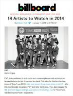 엑소, 빌보드 '2014 주목할 아티스트' 선정…아시아 가수 유일