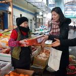 김외숙 법제처장 전통시장 활성화 앞장 산성시장 상인 애로 청취·먹거리 구매