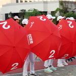 이재호 연수구청장 후보 '빨간 우산 유세단' 눈길