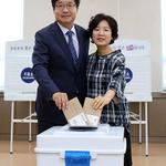 염태영 수원시장 후보, 세류2동주민센터 사전투표 행사