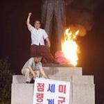 """""""맥아더 동상 철거하라"""" 불 지른"""