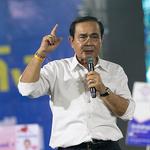 유세장에 처음 모습 보인 쁘라윳 태국 총리