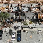 토네이도로 크게 파손된 미국 오하이오 주택