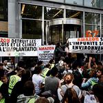 아마존 물류영업 확대 반대하는 프랑스 시위대