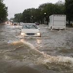 워싱턴 '반짝 폭우'에 출근길 차량들 엉금엉금